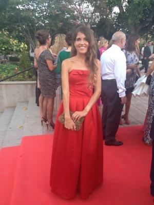 Vestido largo raso rojo con lazo