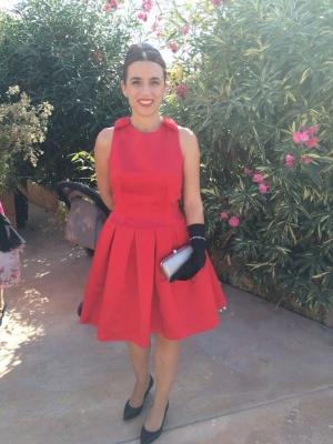 Vestido raso rojo lazos