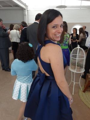 Vestido raso azul espalda cruzada