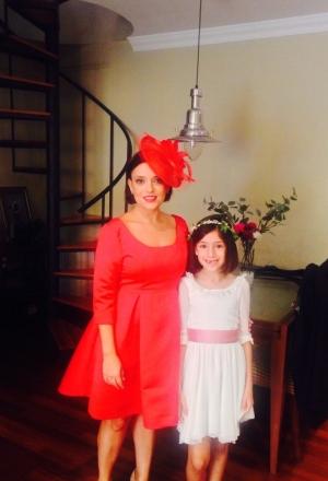 Vestido raso rojo madrina boda