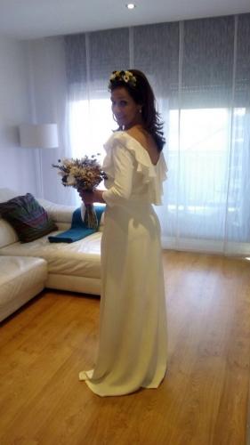 vestido novia en crepe de seda